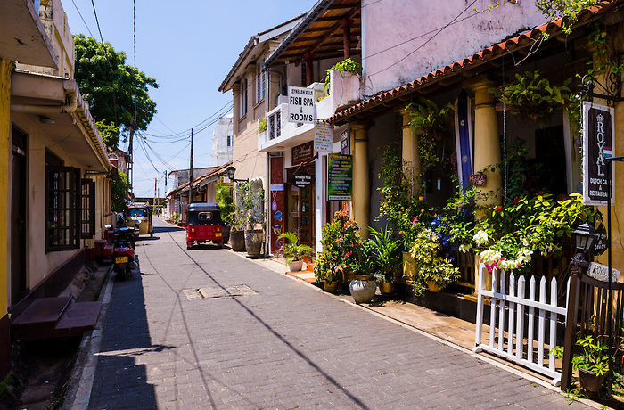 Side street in the Old Town of Galle, a UNESCO World Heritage Site on the South Coast of Sri Lanka, Asia